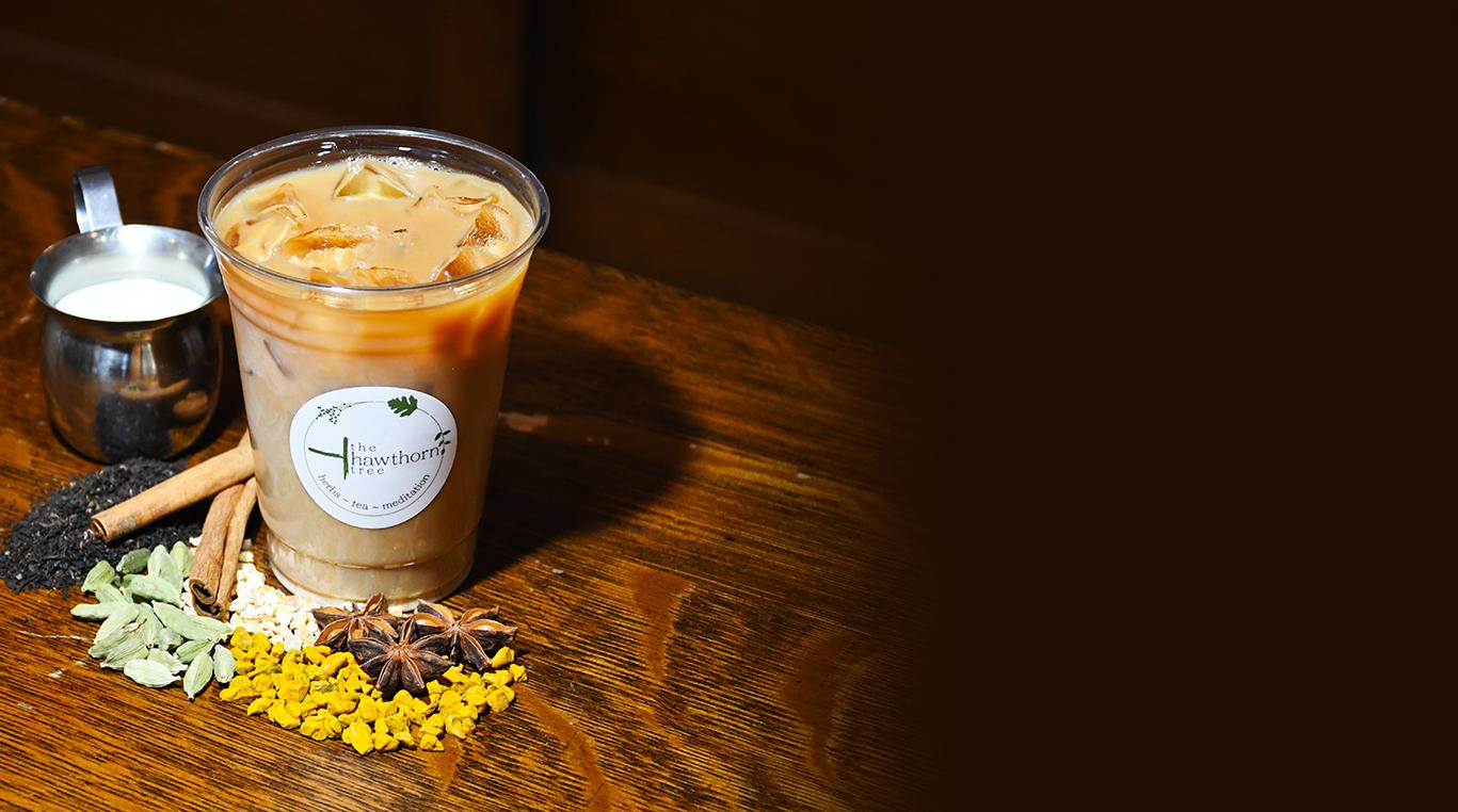 thai iced tea at the hawthorn tree